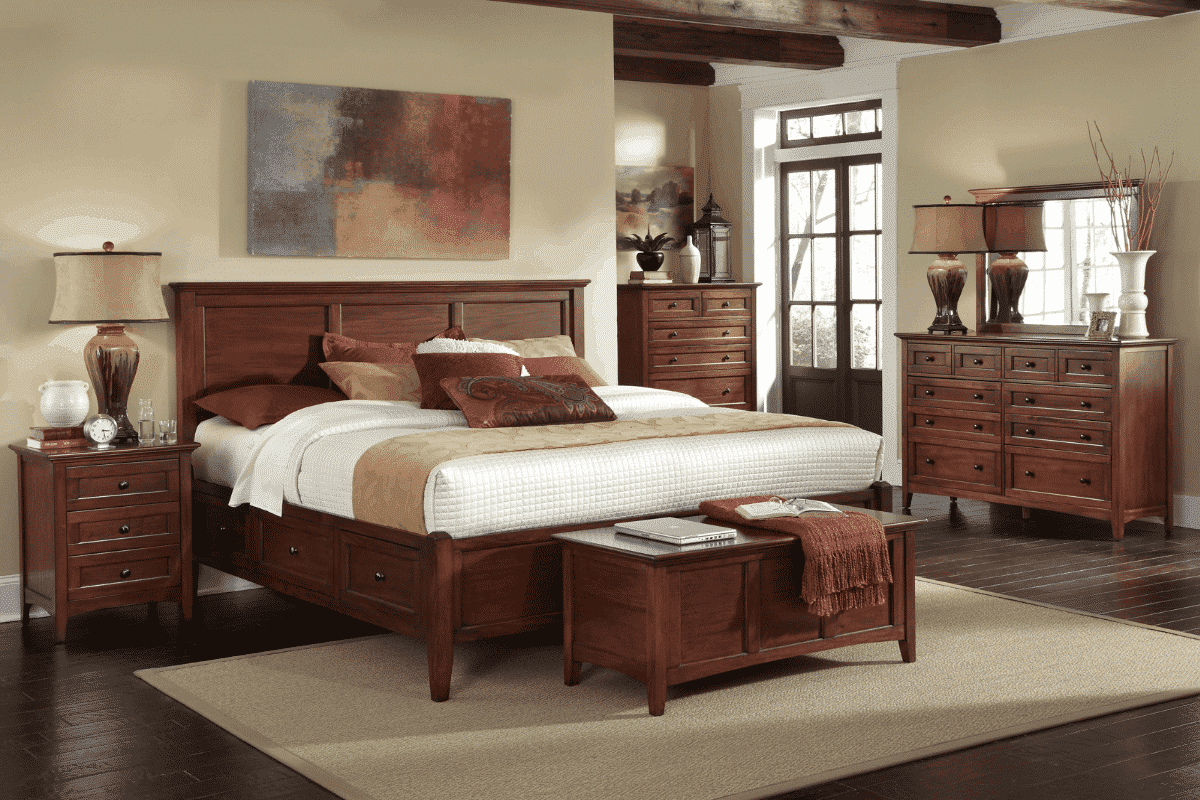 West Lake Storage Bed - Cherry Brown